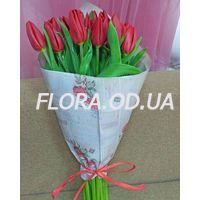 Bouquet of 19 red tulips - Photo 1