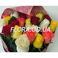 Букет з 21 різнокольорової троянди - Фото 1