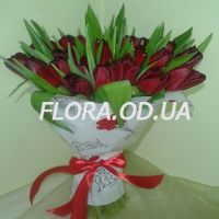 Букет из 45 красных тюльпанов - Фото 1