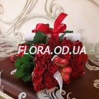 Bouquet of roses with hearts - Photo 1