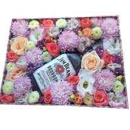 """Flowers and whiskey in a box"" in the online flower shop flora.od.ua"