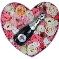 """Flowers in a Box with Champagne"" in the online flower shop flora.od.ua"