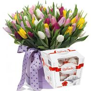 101 multi-colored tulip in a box - flowers and bouquets on flora.od.ua