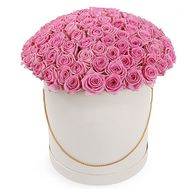 """101 pink roses in a box"" in the online flower shop flora.od.ua"