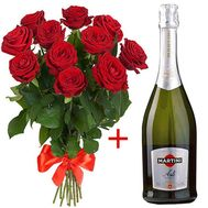 11 roses and Martini Asti - flowers and bouquets on flora.od.ua