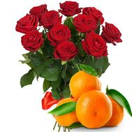11 roses with tangerines - flowers and bouquets on flora.od.ua