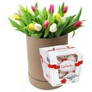 15 multi-colored tulips and candy - flowers and bouquets on flora.od.ua