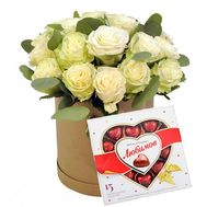"""21 white roses in a box with sweets"" in the online flower shop flora.od.ua"