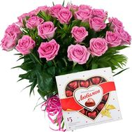 21 pink roses and candy - flowers and bouquets on flora.od.ua