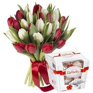 """25 red and white tulips with Raffaello"" in the online flower shop flora.od.ua"