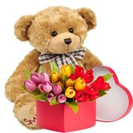 """25 tulips in a box and a teddy bear"" in the online flower shop flora.od.ua"