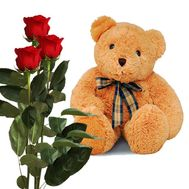 3 red roses and a bear - flowers and bouquets on flora.od.ua