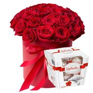 """31 roses in a round box"" in the online flower shop flora.od.ua"
