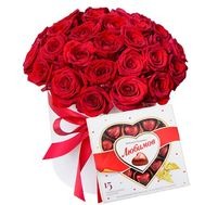 """35 scarlet roses in a box of sweets"" in the online flower shop flora.od.ua"