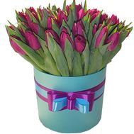 45 purple tulips in a box - flowers and bouquets on flora.od.ua