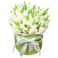 51 white tulip in a box - flowers and bouquets on flora.od.ua