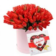 51 red tulip in a box of sweets - flowers and bouquets on flora.od.ua