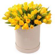 51 желтый тюльпан в коробке - цветы и букеты на flora.od.ua
