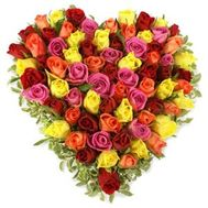 73 multi-colored roses - flowers and bouquets on flora.od.ua
