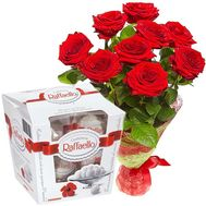 9 roses and Raffaello - flowers and bouquets on flora.od.ua