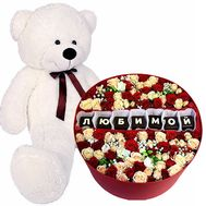 """Big teddy bear and flowers in a box"" in the online flower shop flora.od.ua"