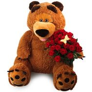 Big teddy bear with roses - flowers and bouquets on flora.od.ua