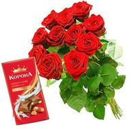 Bouquet 11 red roses and chocolate - flowers and bouquets on flora.od.ua