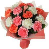 Букет 15 разноцветных гвоздик - цветы и букеты на flora.od.ua