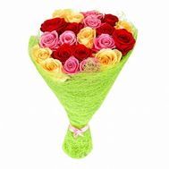 Bouquet from 21 multi-colored roses - flowers and bouquets on flora.od.ua