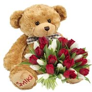 """Bouquet of 25 tulips and a bear"" in the online flower shop flora.od.ua"