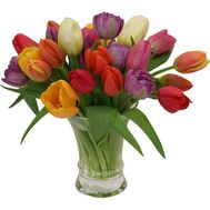 """Bouquet from 29 multi-colored tulips"" in the online flower shop flora.od.ua"