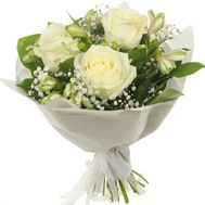 Bouquet of 3 white roses and alstromeries - flowers and bouquets on flora.od.ua