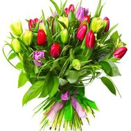 Bouquet of 31 tulips with verdure - flowers and bouquets on flora.od.ua