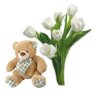 """Bouquet of 7 tulips with a bear"" in the online flower shop flora.od.ua"