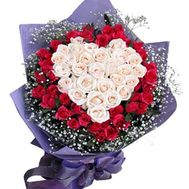 Bouquet of 71 roses in the shape of heart - flowers and bouquets on flora.od.ua