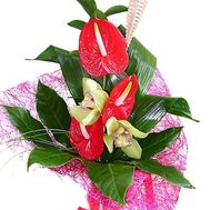 """Bouquet from anthurium and orchids"" in the online flower shop flora.od.ua"