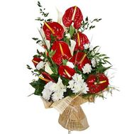 """Bouquet of chrysanthemum and anthurium"" in the online flower shop flora.od.ua"