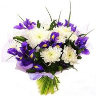 Bouquet of chrysanthemums and irises - flowers and bouquets on flora.od.ua
