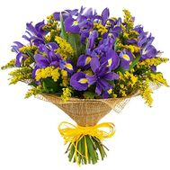 """Bouquet of irises and mimosa"" in the online flower shop flora.od.ua"