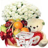 Букет, мишка, фрукты, Raffaello - цветы и букеты на flora.od.ua