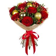 A bouquet of roses with Christmas toys - flowers and bouquets on flora.od.ua