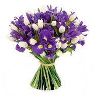 """Wonderful bouquet of irises and tulips"" in the online flower shop flora.od.ua"
