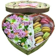 """Flowers with Macarons in a box heart"" in the online flower shop flora.od.ua"