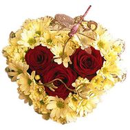Composition heart from roses and chrysanthemums - flowers and bouquets on flora.od.ua