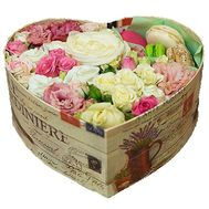 """Box of flowers and Macarons"" in the online flower shop flora.od.ua"