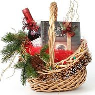 Christmas basket with food - flowers and bouquets on flora.od.ua