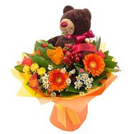 """Teddy bear with bouquet"" in the online flower shop flora.od.ua"