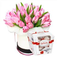 """Pink tulips in a box and Raffaello"" in the online flower shop flora.od.ua"