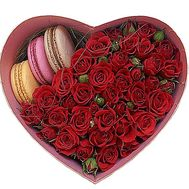 roses in a Box with Macarons - flowers and bouquets on flora.od.ua