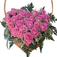 Heart of 27 pink roses - flowers and bouquets on flora.od.ua